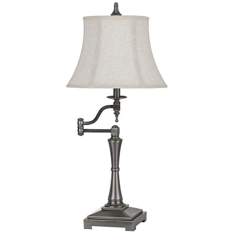 Madison Antiqued Silver Metal Swing Arm Table Lamp