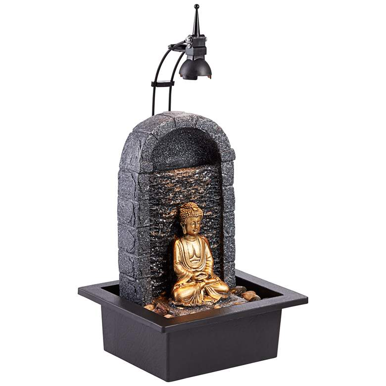 Buddha 17 Quot High Gold Indoor Outdoor Led Table Fountain