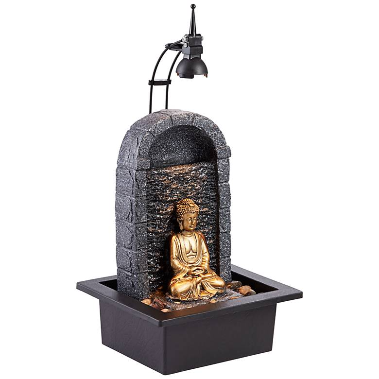 """Buddha 17"""" High Gold Indoor/Outdoor LED Table Fountain"""