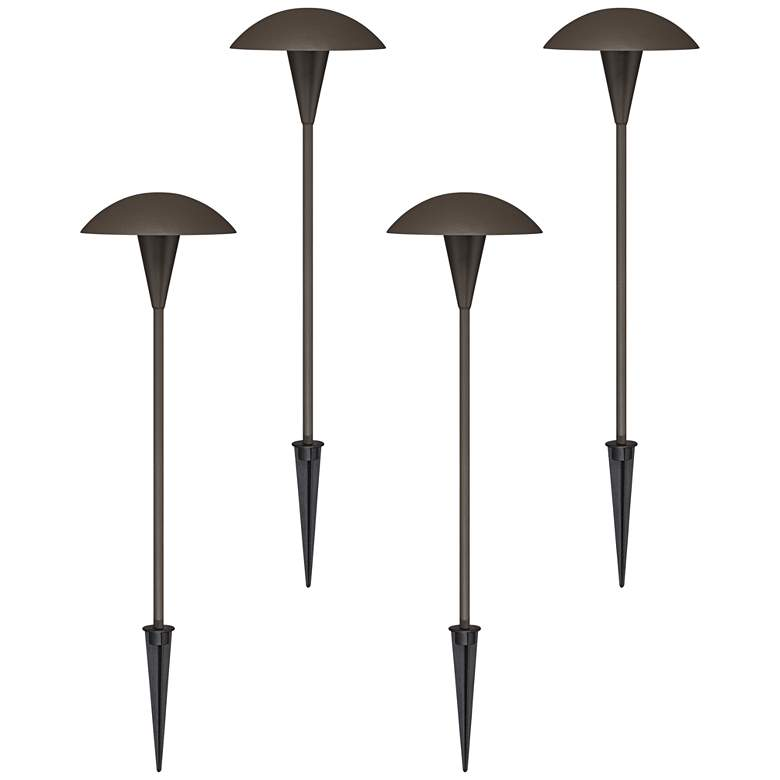 4 Pack Large Mushroom Bronze LED Landscape Path Light