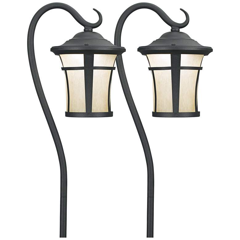 2 Pack Textured Black LED Carriage Landscape Lights