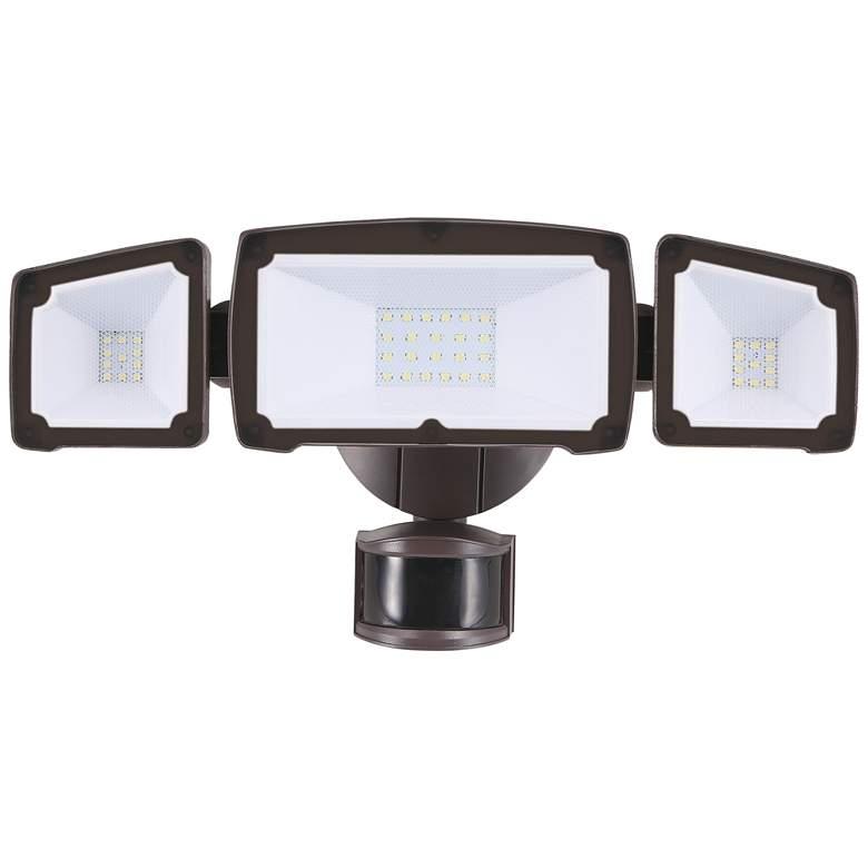 Eco-Star Bronze Triple Flat Face Head LED Security Light