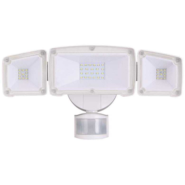 Eco-Star White Triple Flat Face Head LED Security Light