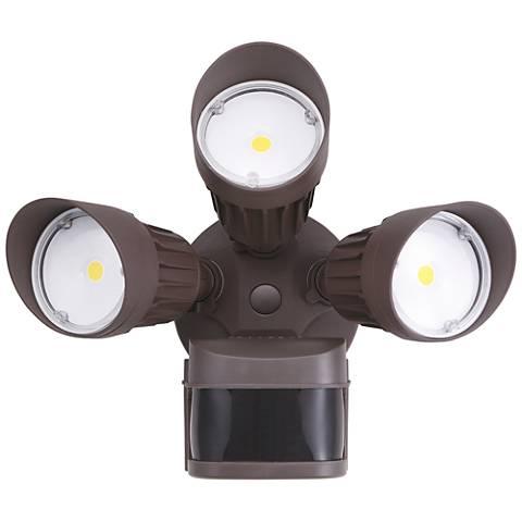 Eco-Star Bronze Triple Head LED Motion Sensor Security Light