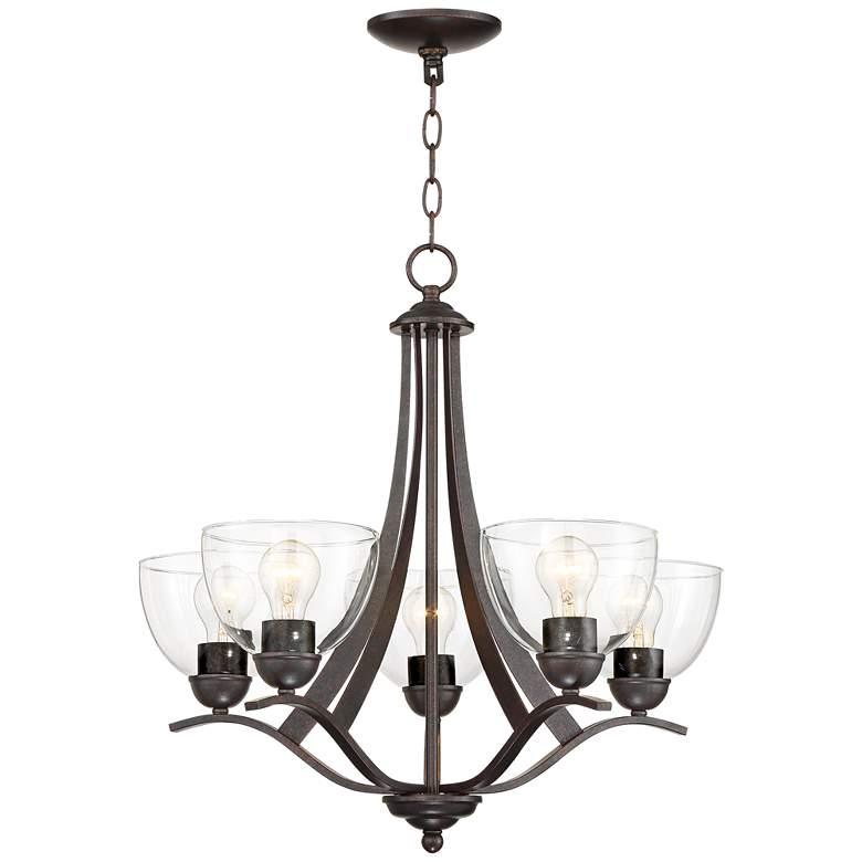 "Airington 21 1/2""W Bronze and Clear Glass 5-Light Chandelier"