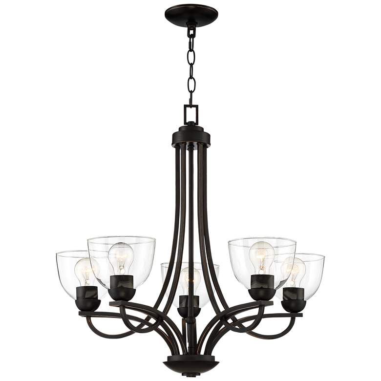 "Bennington 26"" Wide Bronze 5-Light Chandelier"