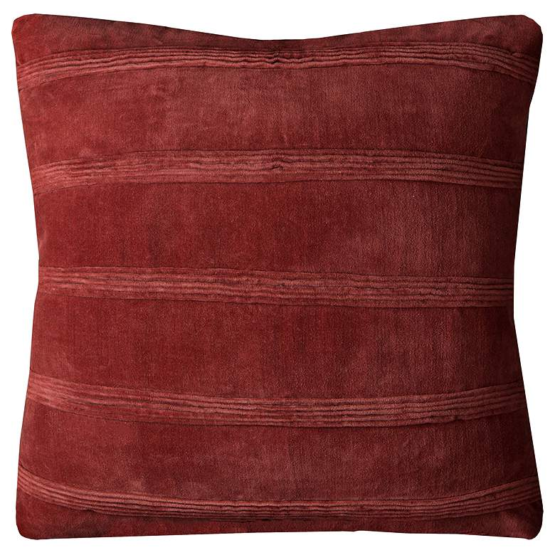 """Rust Pin Tuck Stripes 22"""" Square Decorative Filled Pillow"""