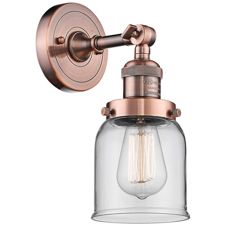 """Small Bell 10"""" High Antique Copper Adjustable Wall Sconce"""