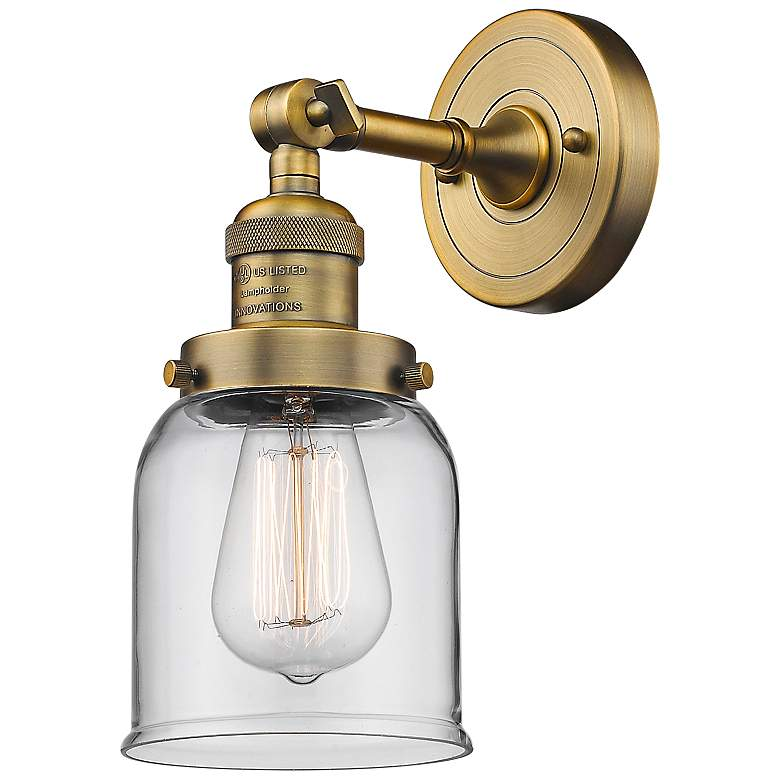 """Small Bell 10"""" High Brushed Brass Adjustable Wall Sconce"""
