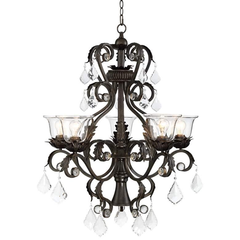 "Ramas de Luces 29 1/2""W Bronze and Clear 6-Light Chandelier"