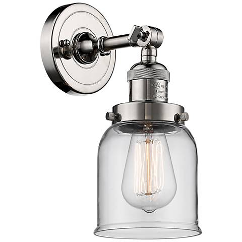 "Small Bell 10"" High Polished Nickel Adjustable Wall Sconce"