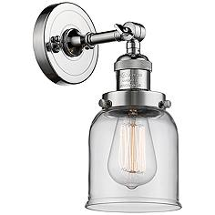 """Small Bell 10"""" High Polished Chrome Adjustable Wall Sconce"""