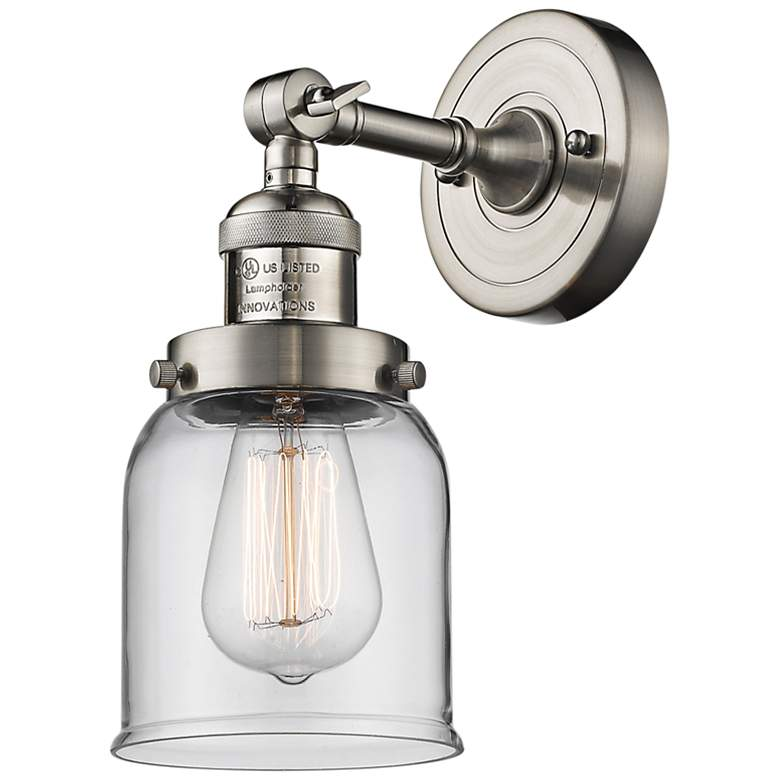 """Small Bell 10""""H Satin Brushed Nickel Adjustable Wall Sconce"""