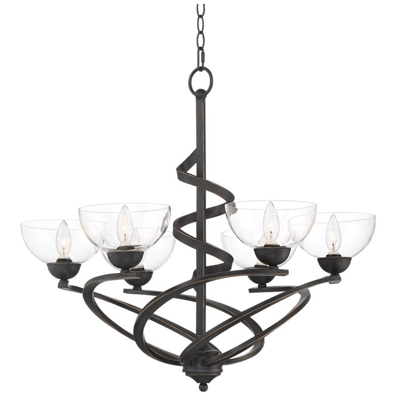 "Swirling Ribbon 28 1/4"" Wide Bronze 6-Light Chandelier"
