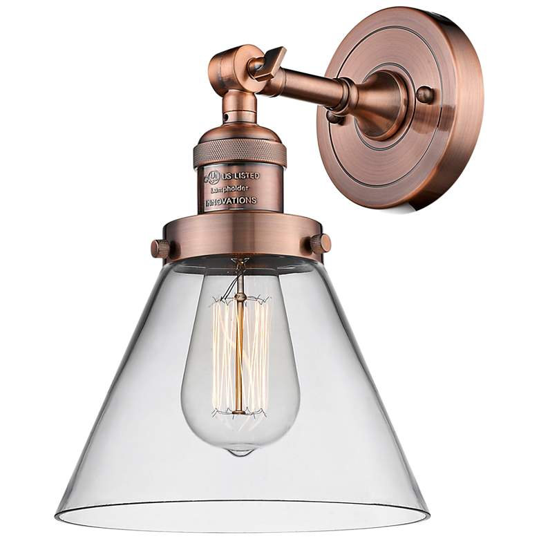"""Large Cone 10"""" High Antique Copper Adjustable Wall Sconce"""