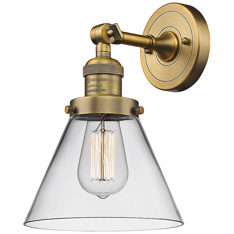 """Large Cone 10"""" High Brushed Brass Adjustable Wall Sconce"""
