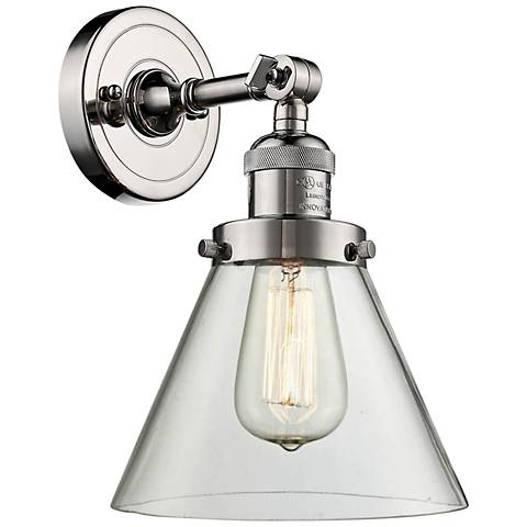 "Large Cone 10"" High Polished Nickel Adjustable Wall Sconce"