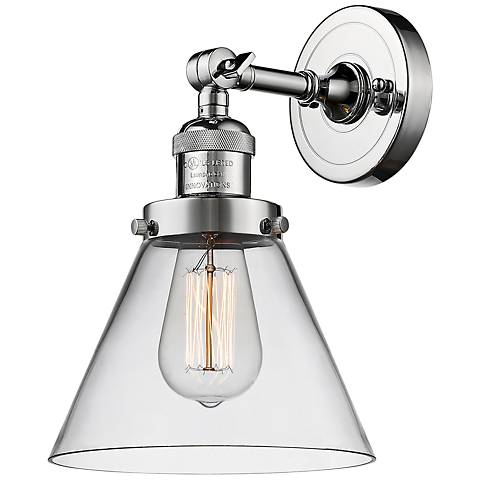 "Large Cone 10"" High Polished Chrome Adjustable Wall Sconce"