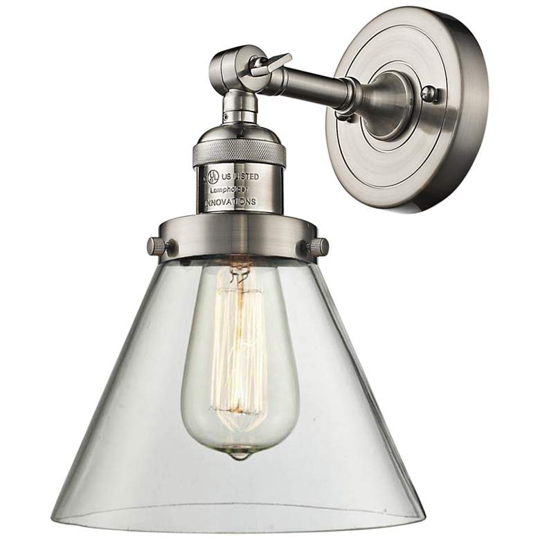 """Large Cone 10""""H Satin Brushed Nickel Adjustable Wall Sconce"""