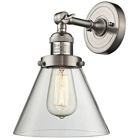 "Large Cone 10""H Satin Brushed Nickel Adjustable Wall Sconce"