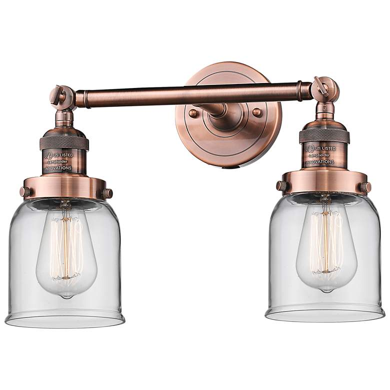 "Small Bell 10"" High Copper 2-Light Adjustable Wall Sconce"
