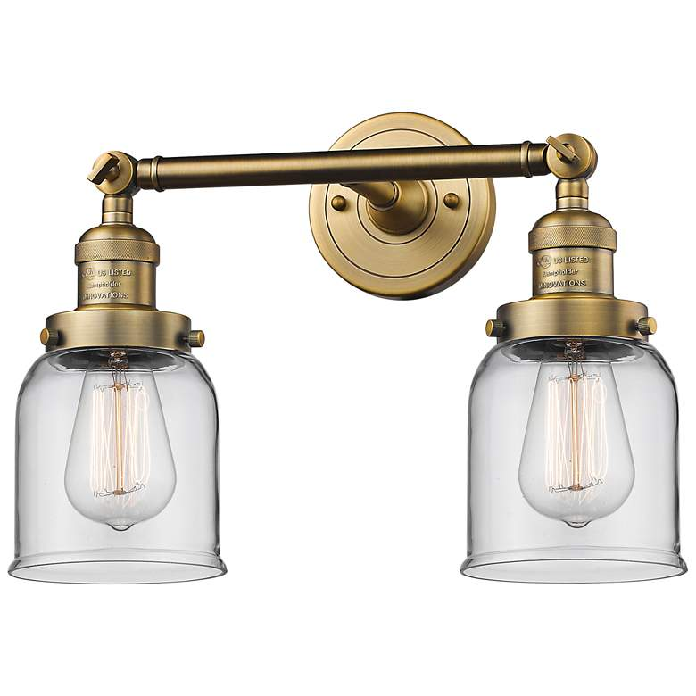 "Small Bell 10""H Brushed Brass 2-Light Adjustable Wall Sconce"