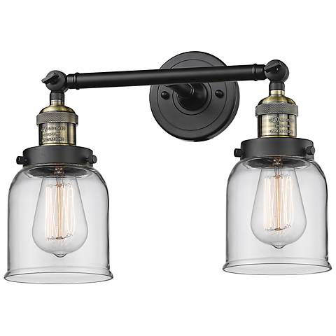 """Small Bell 10""""H Black and Brushed Brass 2-Light Wall Sconce"""