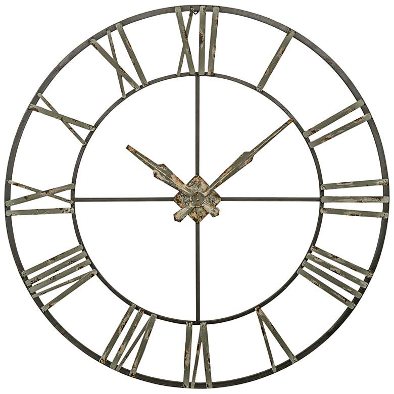 """Clare Distressed Gray 47 3/4"""" Round Wall Clock"""