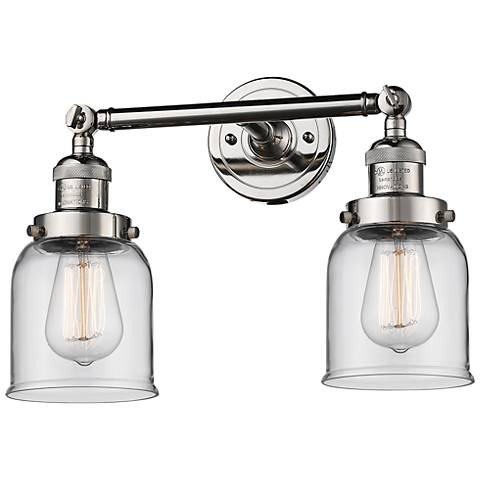 "Small Bell 10"" High Nickel 2-Light Adjustable Wall Sconce"