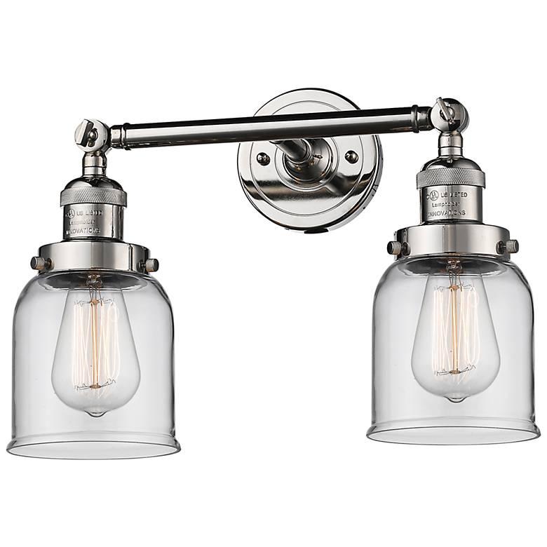"Small Bell 10"" High Nickel 2-Light Adjustable Wall Sconce"