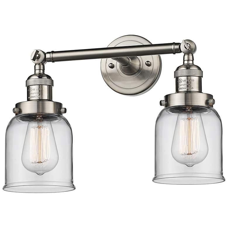 "Small Bell 10""H Satin Nickel 2-Light Adjustable Wall Sconce"