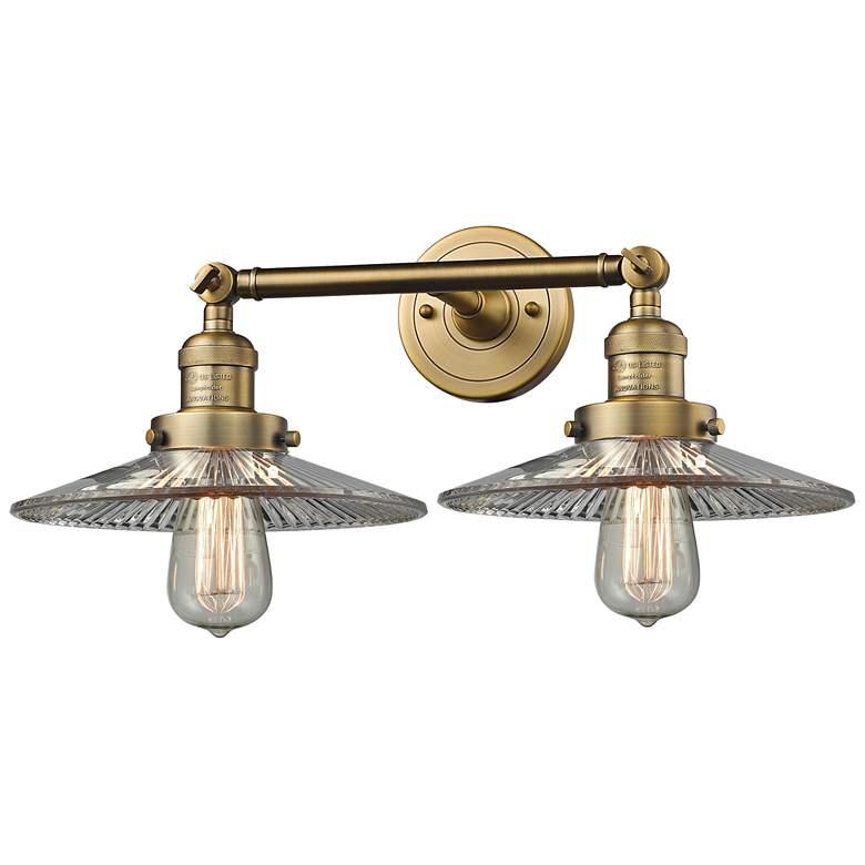 """Halophane 7""""H Brushed Brass 2-Light Adjustable Wall Sconce"""