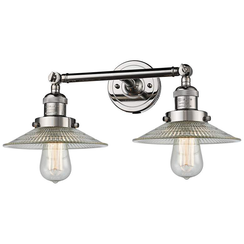 "Halophane 7""H Polished Nickel 2-Light Adjustable Wall Sconce"
