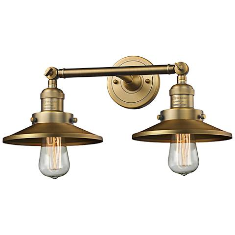 "Railroad 8""H Brushed Brass 2-Light Adjustable Wall Sconce"