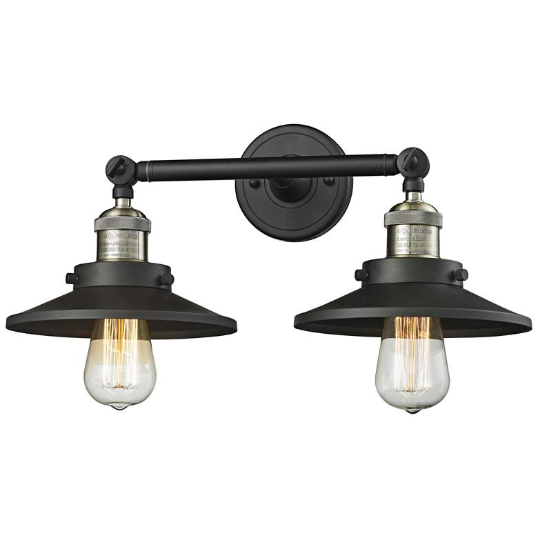 "Railroad 8""H Black and Brass 2-Light Adjustable Wall Sconce"