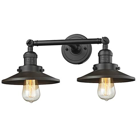 """Railroad 8""""H Rubbed Bronze 2-Light Adjustable Wall Sconce"""