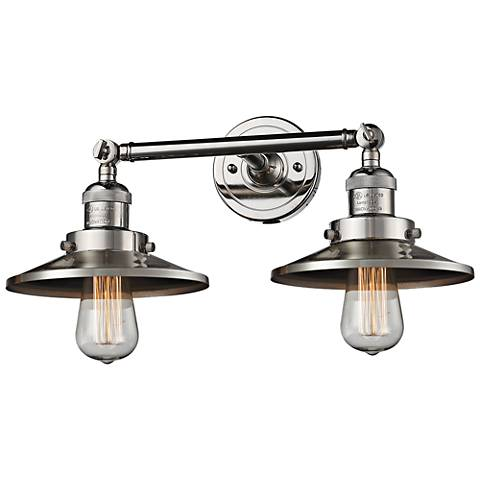 "Railroad 8""H Polished Nickel 2-Light Adjustable Wall Sconce"