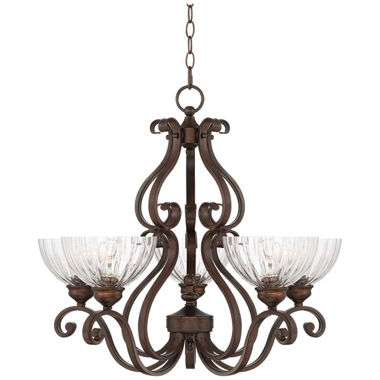 """Iron Scroll 27""""W Bronze and Clear Glass 5-Light Chandelier"""
