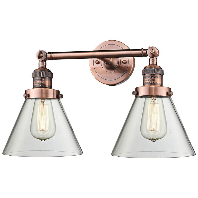 """Large Cone 11"""" High Copper 2-Light Adjustable Wall Sconce"""