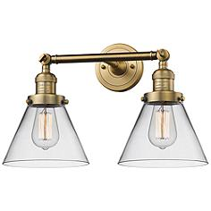 """Large Cone 11""""H Brushed Brass 2-Light Adjustable Wall Sconce"""