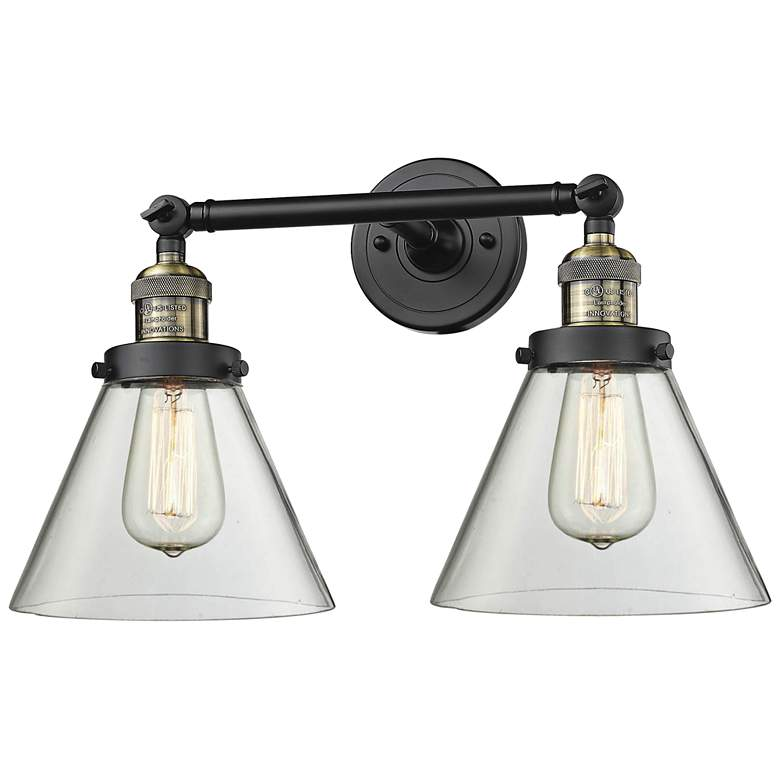 """Large Cone 11""""H Black and Brushed Brass 2-Light Wall Sconce"""