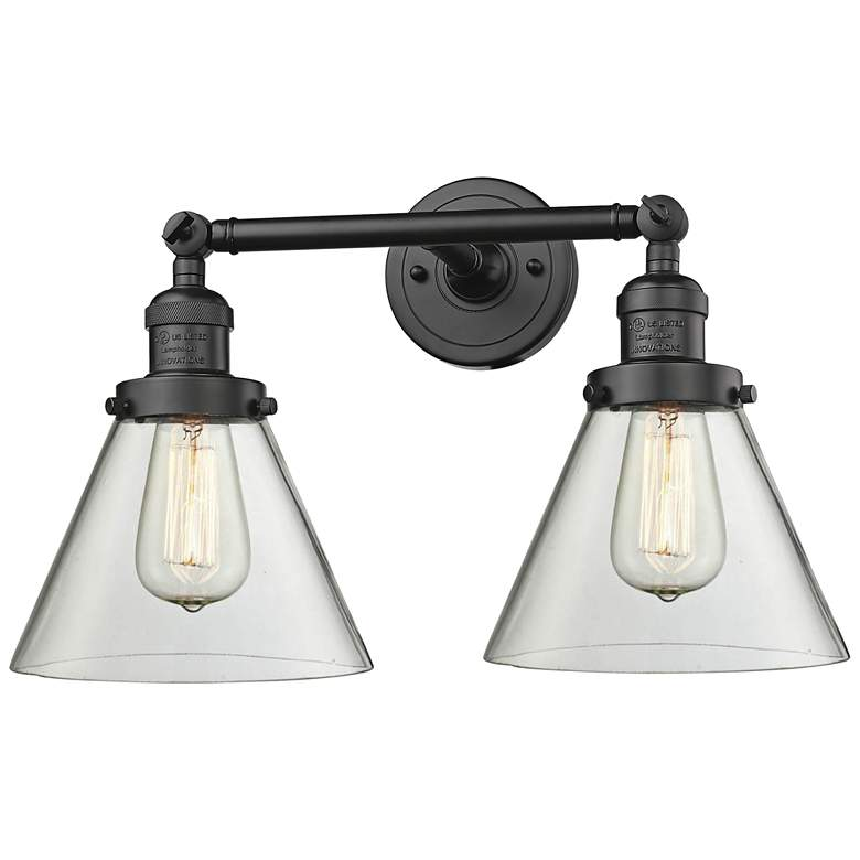 """Large Cone 11""""H Rubbed Bronze 2-Light Adjustable Wall Sconce"""
