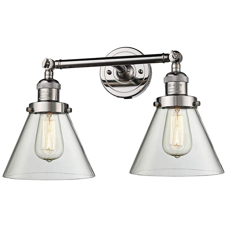 "Large Cone 11"" High Nickel 2-Light Adjustable Wall"