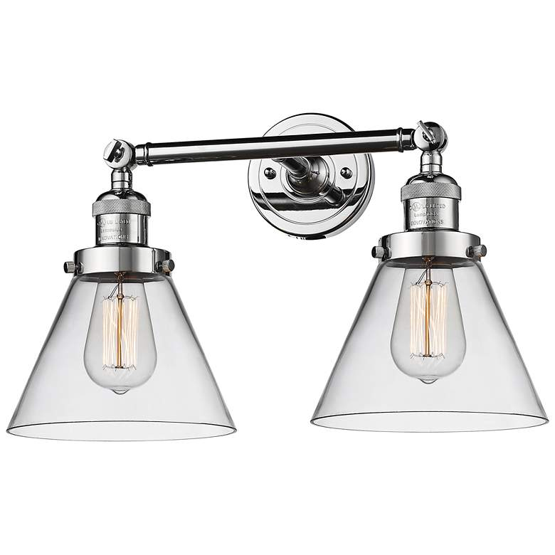 """Large Cone 11"""" High Chrome 2-Light Adjustable Wall Sconce"""