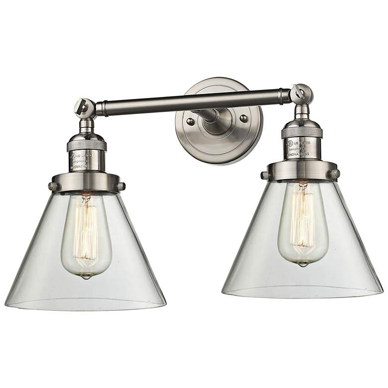 "Large Cone 11""H Satin Nickel 2-Light Adjustable Wall Sconce"