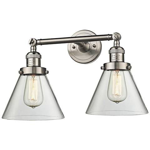 """Large Cone 11""""H Satin Nickel 2-Light Adjustable Wall Sconce"""