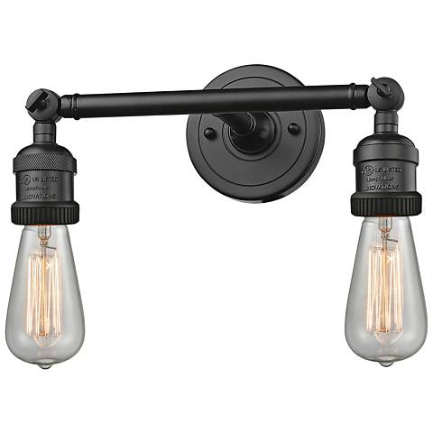 """Bare Bulb 5""""H Rubbed Bronze 2-Light Adjustable Wall Sconce"""