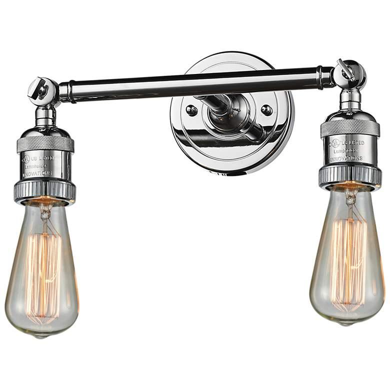 "Bare Bulb 5""H Polished Chrome 2-Light Adjustable Wall Sconce"