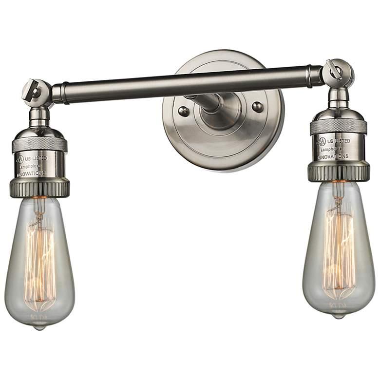 "Bare Bulb 5""H Satin Nickel Adjustable 2-Light Wall Sconce"