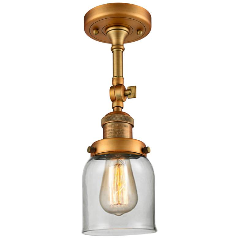 """Small Bell 5"""" Wide Brushed Brass Adjustable Ceiling Light"""